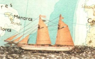 Antigua maqueta del barco vivero 'El Balear'. Foto: Alberto Coll Arredondo.