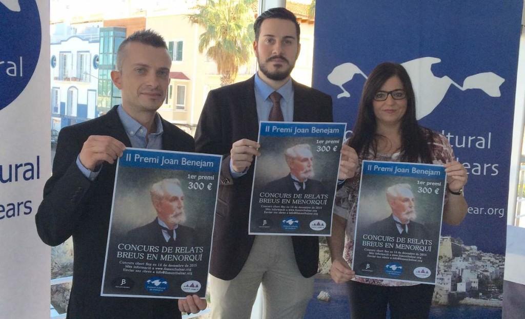 Lucas Pons, Joan Pons y Loli Martínez, secretario, presidente y vocal de Foment Cultural de Menorca. Foto: F.C.M.