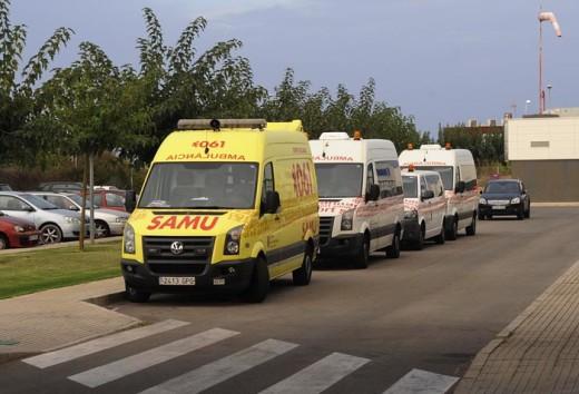 Ambulancias en el Hospital Mateu Orfila.