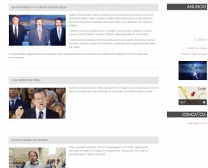 Diferentes apartados en una web plagada de guiños y errores.