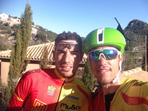 Albert Torres, entrenando en Mallorca junto a Sebastián Mora (Foto: S. Mora)
