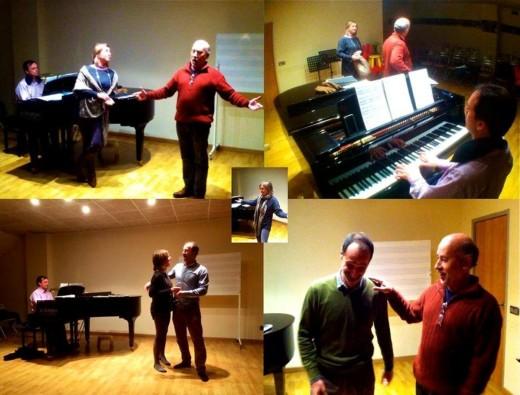 Composición de diversos momentos de los ensayos anteriores al concierto, en una imagen de Joventuts Musicals de Maó.