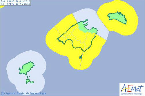 Mapa de previsión de Aemet.