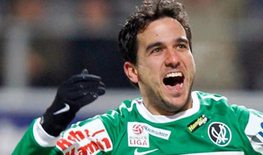 Guillem celebra un gol con el Ried de Austria.