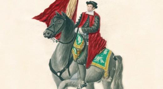Fragmento de la imagen de portada del libro, que reporduce la ilustración de un 'jurat' a caballo antes de 1835.