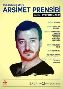 Cartel de su lectura en el Teatro Galata de Estambul este 4 de febrero, con la imagen de su autor Josep Maria Miró.
