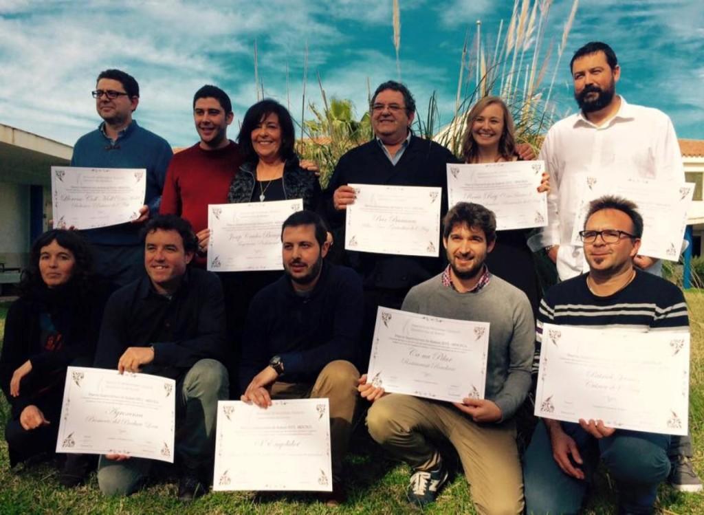 Fotografía conjunta de los galardonados con los Premios Gastronómicos 2015 en Menorca. Foto: Fra Roger.
