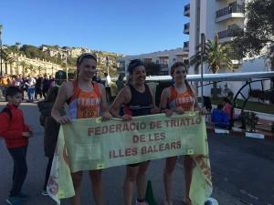 Podio de la categoría femenina (Foto: Xtrem Menorca Triatló)