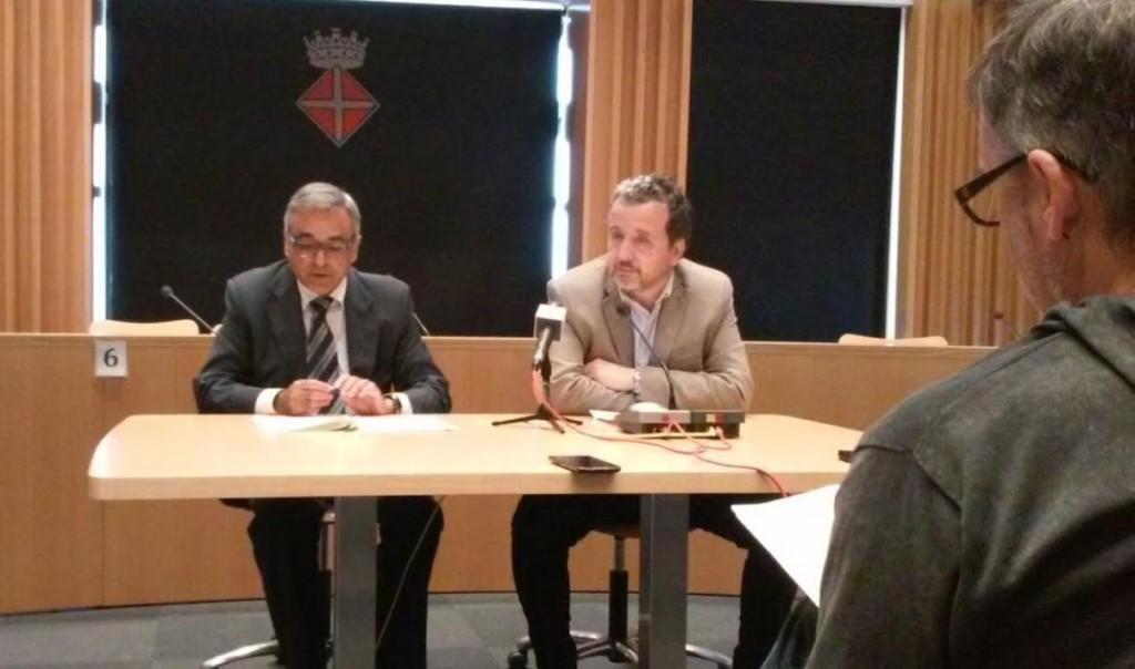 Josep Masanés (derecha), en Blanes.