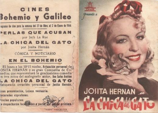 Programa de la película 'La chica del gato' protagonizada por Josita Hernán.