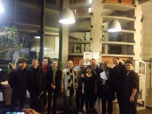 Xavier Larsson (derecha) junto al resto de premiados y a los miembros del jurado. Foto: Xavier Larsson.