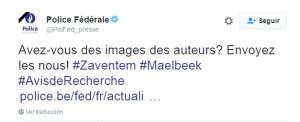 La policía belga ha pedido ayuda a través de la red social Twitter