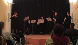 Momento de la actuación del quinteto de viento de la Simfònica en la Casa de Cultura de Ciutadella. Foto: OSIB.