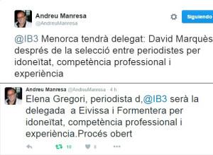 Andreu Manresa ha confirmado la designación vía Twitter.