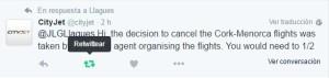 Cityjet ha confirmado la cancelación de la ruta.