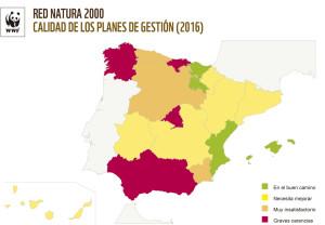Mapa sobre la situación de los planes de gestión por comunidades autónomas. FUENTE.- WWF