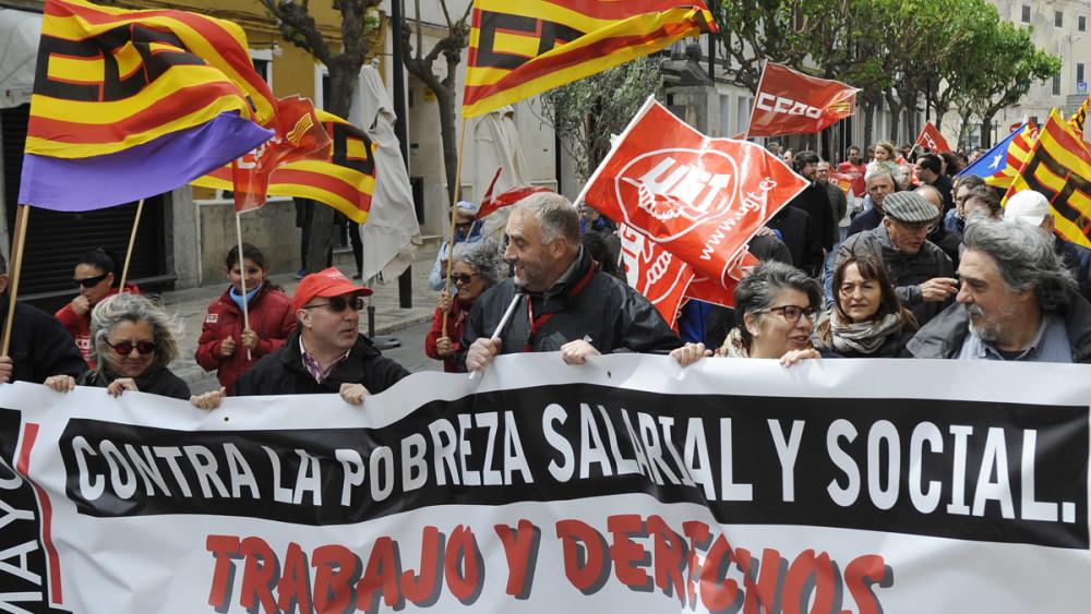 Imagen de archivo de una manifestación del Primero de Mayo en Menorca