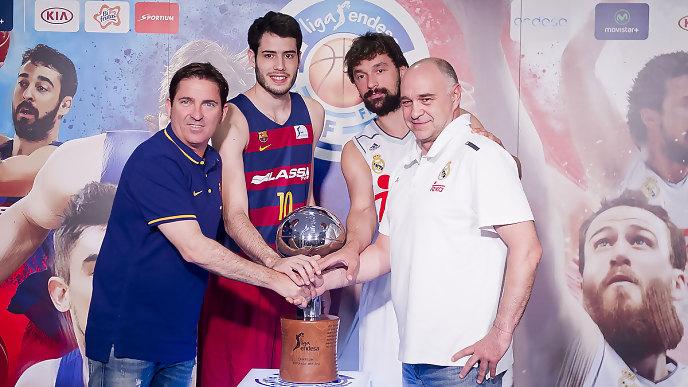 Llull, junto a Pablo Laso, Xavi Pascual y Alex Abrines en la presentación de la final (Fotos: ACB Photo)