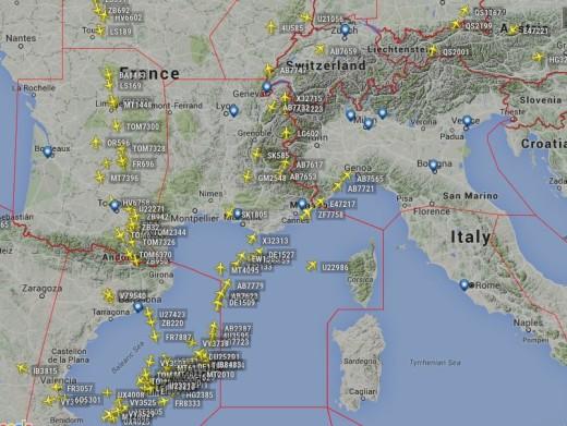 Gráfica de los aviones que conectaban esta mañana con las Illes Balears.