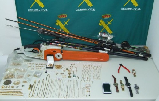 Muestra de algunos objetos recuperados (Foto: Guardia Civil)