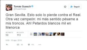 Guasch destaca el apoyo de los seguidores blancos en Menorca.