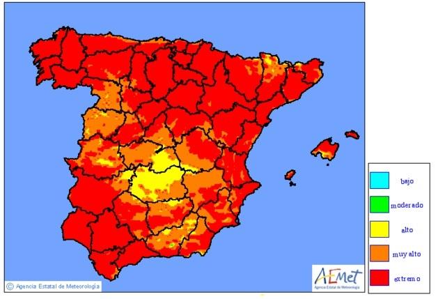 Mapa de riesgos de incendio para este lunes. El del martes apenas varía en Balears.