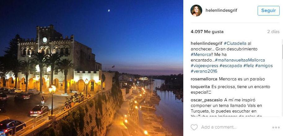 Publicación de Helen Lindes en Instagram.