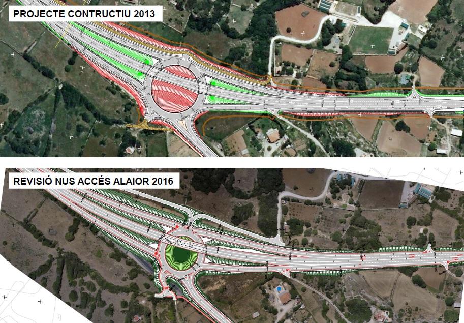 Comparación del plano previsto de revisión y de como será definitivamente.