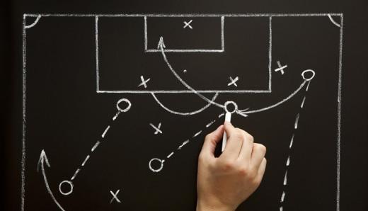 Pizarra de entrenador de fútbol.