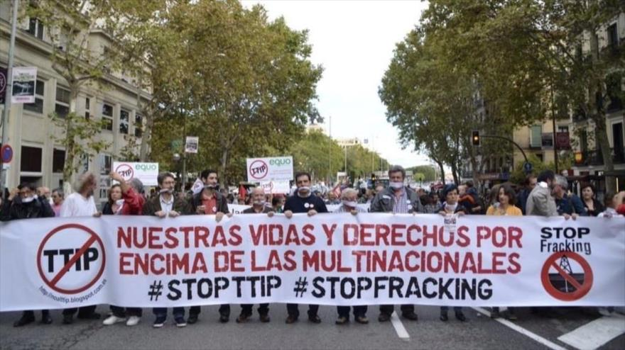 Las manifestaciones contra el TTIP se dan por toda Europa