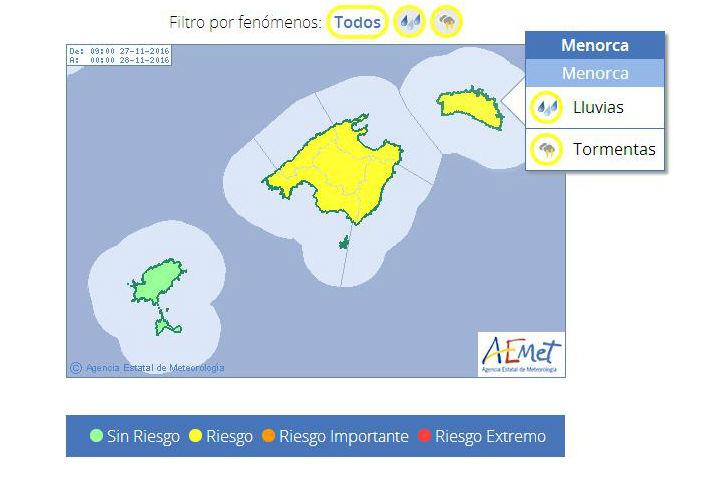 Mapa de avisos de Aemet.