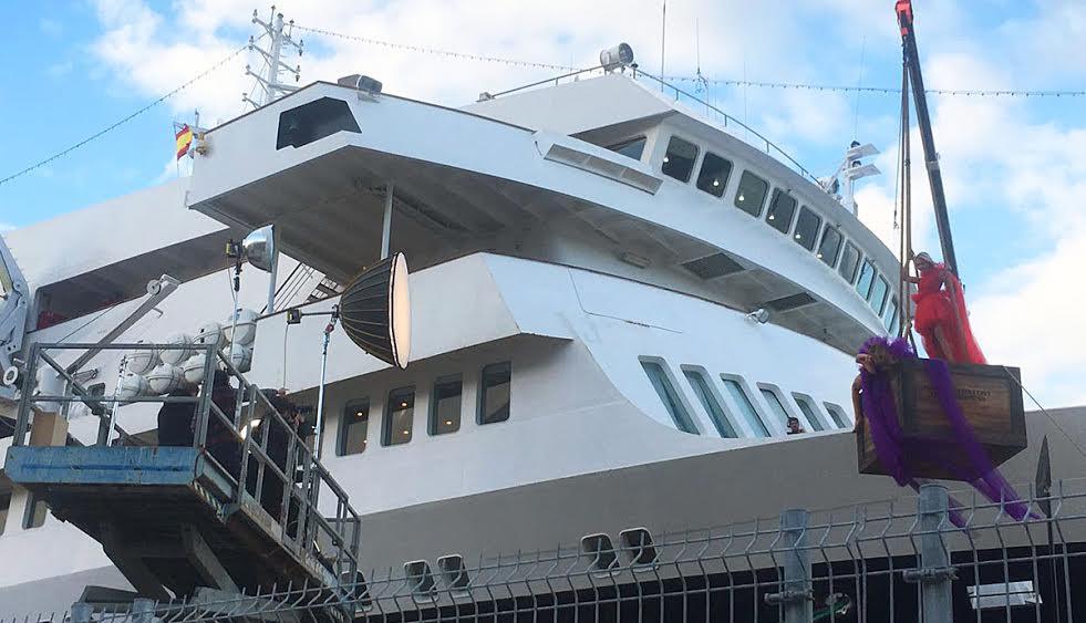 Imagen de uno de los momentos del rodaje en el puerto de Maó.