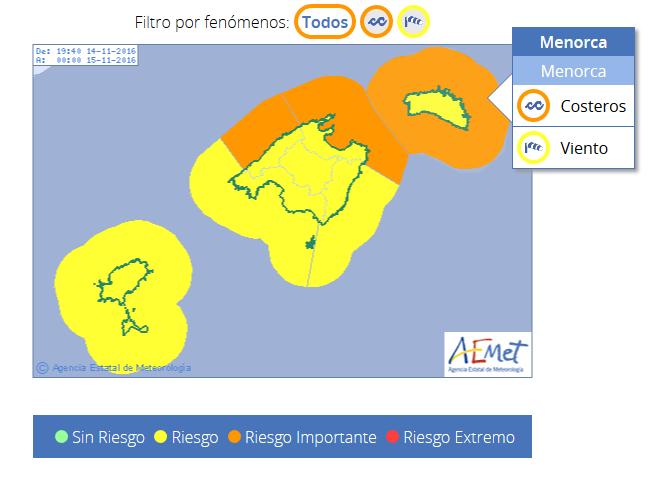Mapa de alertas de Aemet para la jornada de este martes en Menorca.