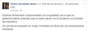 El alcalde confirmó la decisión del ayuntamiento a través de Facebook.