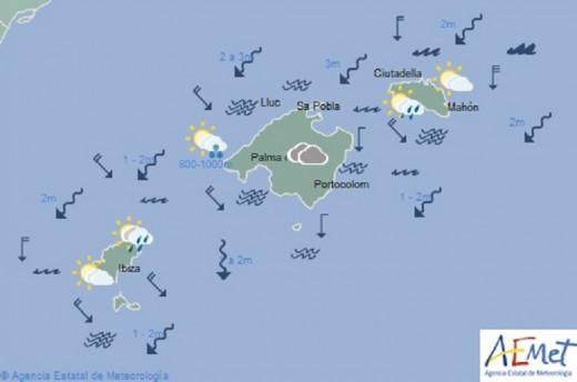 Mapa de la Aemet que resume la predicción para el día de hoy.