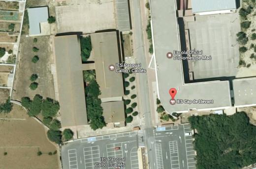Imagen en Google Maps de los dos centros educativos de Maó.