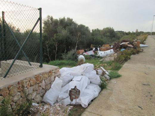 (Fotos) Limpian un vertedero ilegal e incontrolado en el Polígono Industrial de Maó
