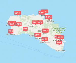 Mapa de Airbnb en la que se ofertan las viviendas en la Isla.
