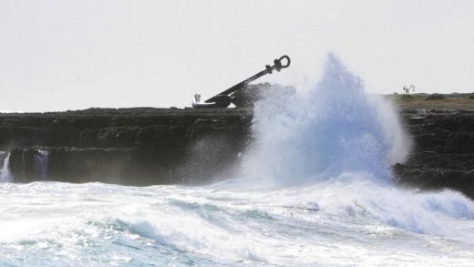 Imagen del fuerte temporal en Punta Prima (Foto: Tolo Mercadal)