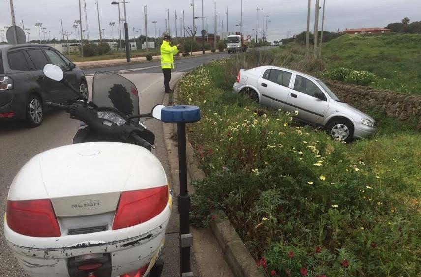 Imagen del coche tras salirse de la vía (Fotos: Tolo Mercadal)