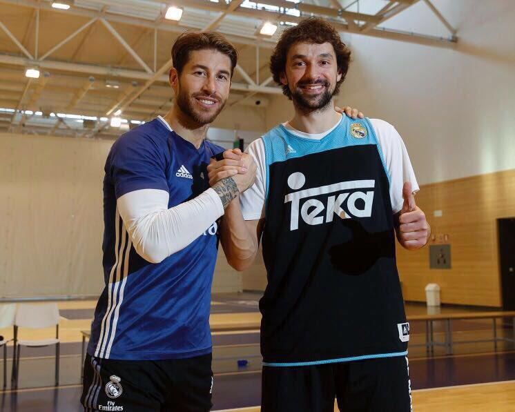 Ramos y Llull, juntos tras el entrenamiento.
