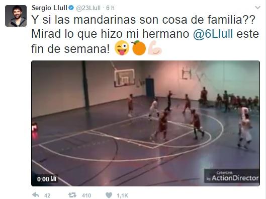 Captura del tweet compartido por el base del Real Madrid.