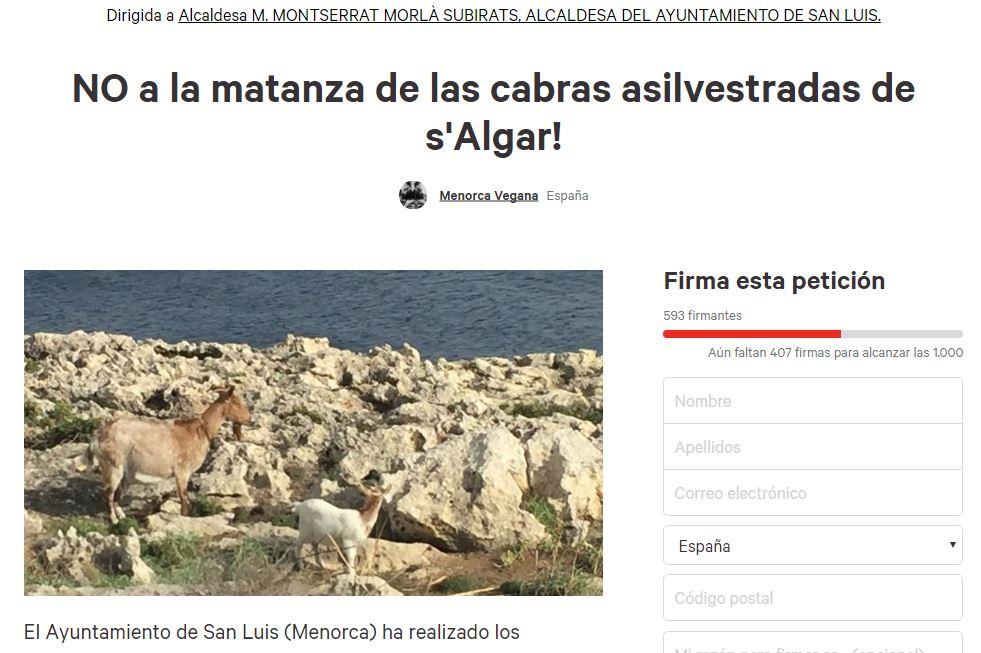 Petición para salvar las cabras
