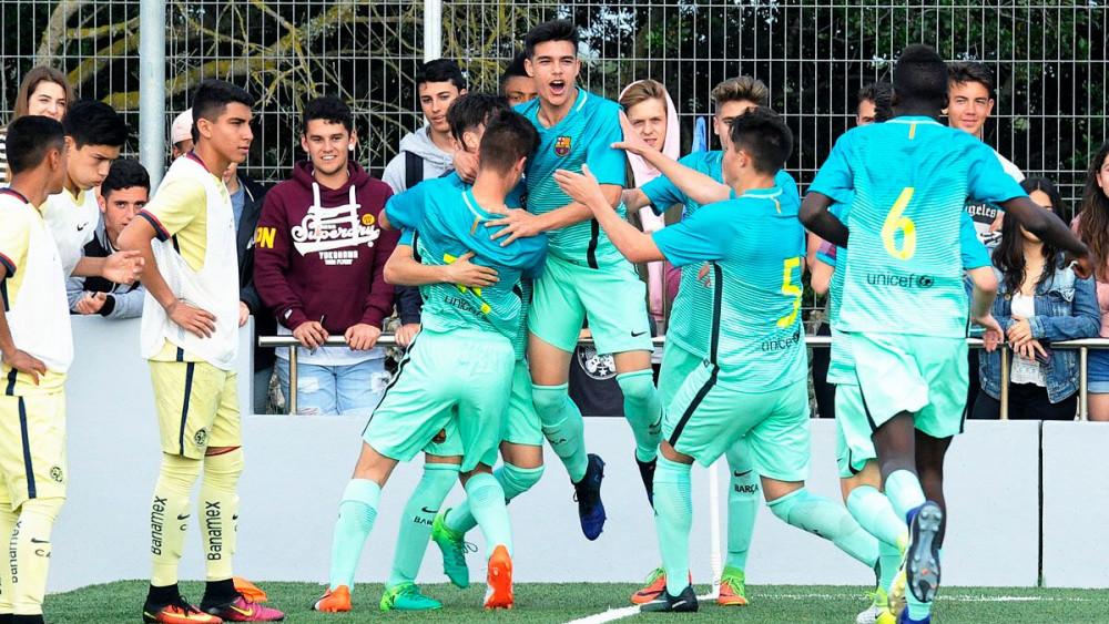Celebración de uno de los goles del Barça en semifinales (Fotos: Tolo Mercadal)