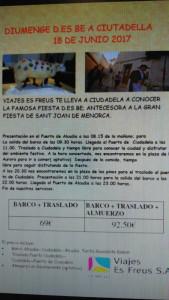 Cartel promocional en Mallorca para ir al Diumenge des be.