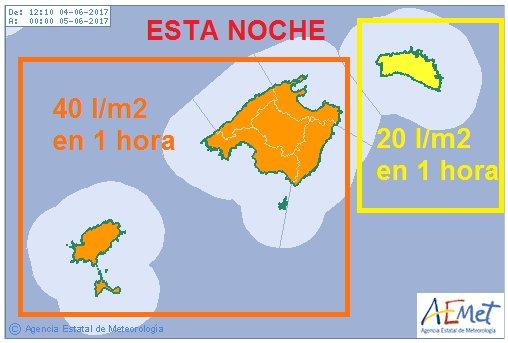 Mapa de precipitaciones de Aemet.