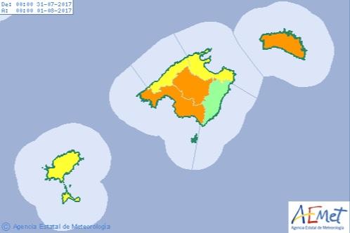 La alerta naranja afectará también a otros lugares de las Islas