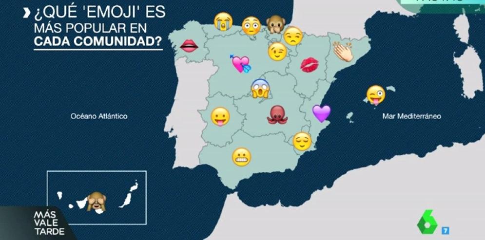 Mapa de España según los emojis más utilizados (Foto LaSexta)