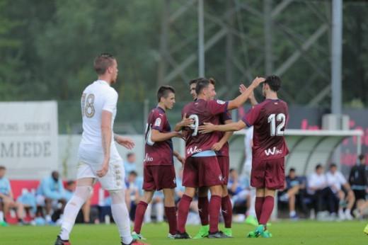 Enrich, celebrando un gol durante la pretemporada (Foto: SD Eibar)