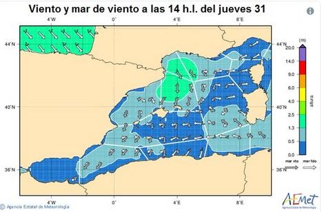 Imagen de las corrientes marítimas (AEMET)